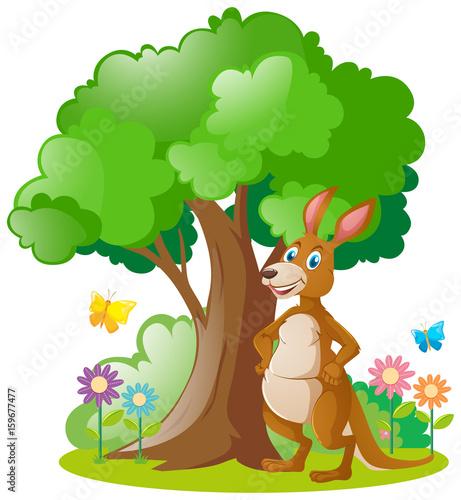Canvas Prints Dinosaurs Kangaroo standing under the tree