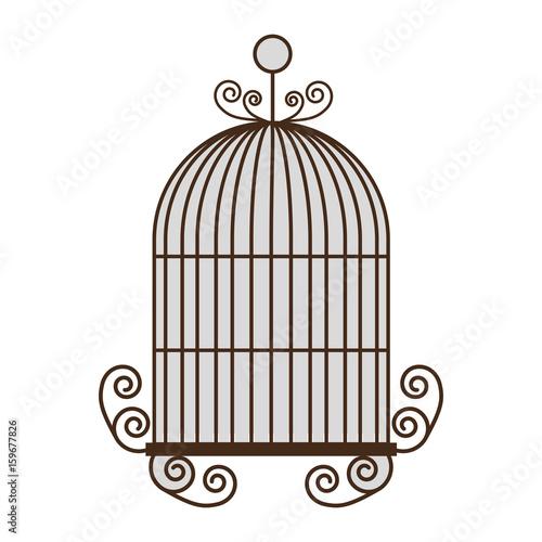 Valokuva vintage birdcage icon over white background vector illustration