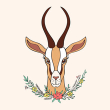 Decorative Gazelle Hand Drawn Vector Cartoon Doodle Colorful Animal Illustration, African Safari Antelope With Curved Horns And Floral Bouquet  Isolated On Light Background, For Design Greeting Card