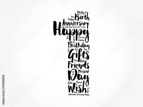 Photo  Happy 1st birthday word cloud collage concept