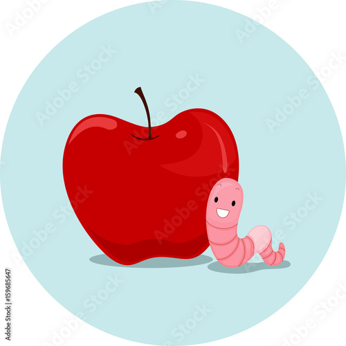 Photo  Preposition Apple Worm Near
