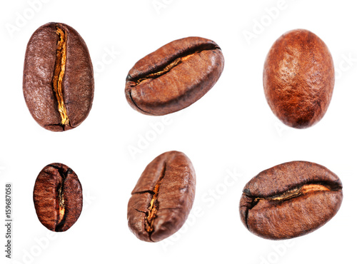 Poster Café en grains Coffee beans set Isolated on white background, closeup, macro .