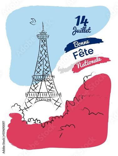 14 july Happy Bastille Day flyer, banner or poster Wallpaper Mural