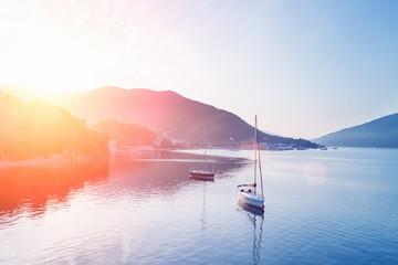 Fototapeta na wymiar Two yachts at sunset