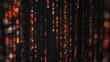 Orange matrix rain of digital HEX code with bokeh