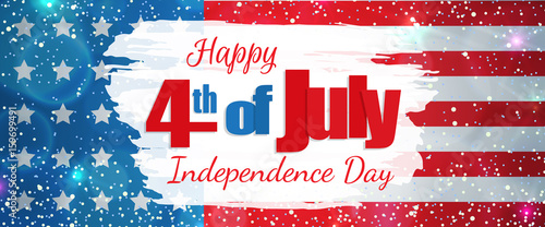 Fotografia  Happy 4th of July, Independence Day greeting card horizontal banner