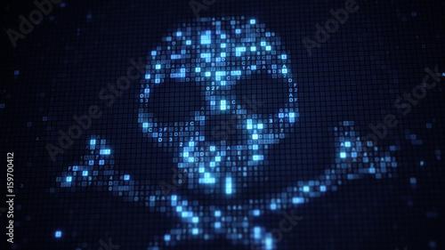 Blue skull shape of hex code on monitor Fototapet