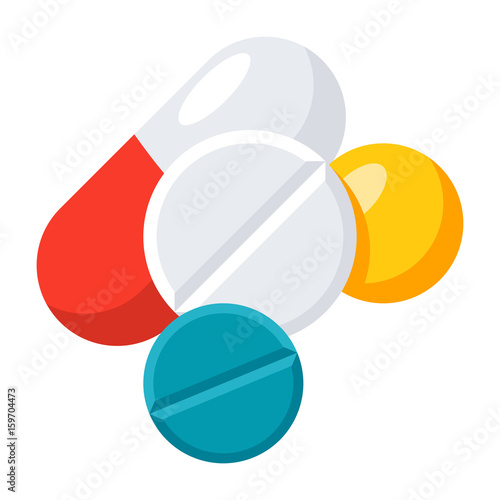 Stampa su Tela  Medication concept with different pills, vector icon in flat style