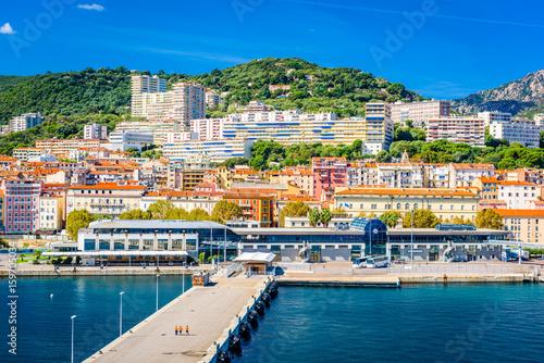 Ajaccio, Corsica, France coastal skyline. Canvas Print