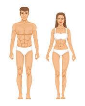 Model Of Sporty Man And Woman Standing Front View. Different Body Parts. Vector Illustration