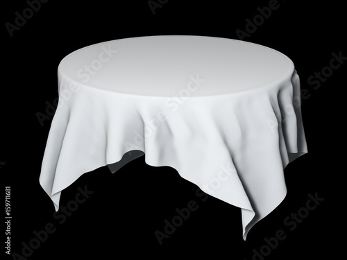 White Round Table Cloth Mockup Isolated On Black. 3D Illustration