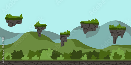 Printed kitchen splashbacks Light blue Seamless unending cartoon background for arcade game or animation. Green hilly landscape with bushes and flying Islands. Vector illustration, parallax ready.