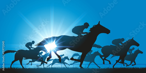 Canvas Print cheval - cheval de course - course hippique - champ de course - jockey