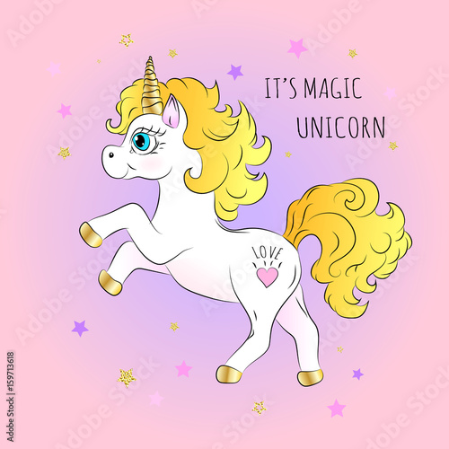 Deurstickers Pony Unicorn. Hand draw. Vector illustration