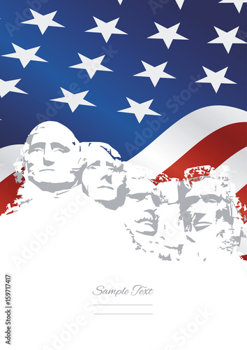 Mount Rushmore USA flag background Wall mural