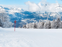 The View At The Ski Slopes In The Mountains Of Les Houches Winter Resort, Chamonix, French Alps