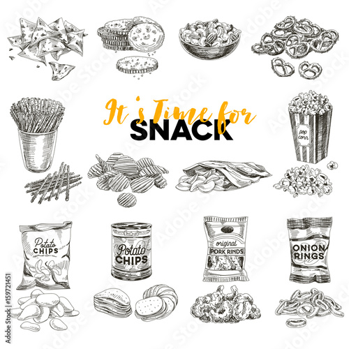 Valokuva  Vector hand drawn Illustration with retro snack staff.