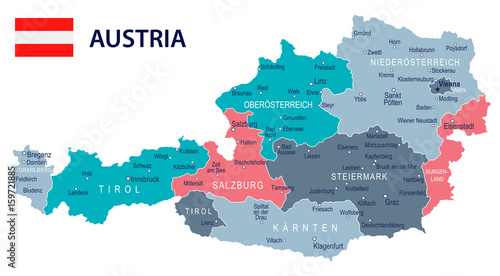 Fotografie, Obraz Austria - map and flag – illustration