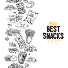 Vector Hand Drawn Snack And Junk Food Illustration.