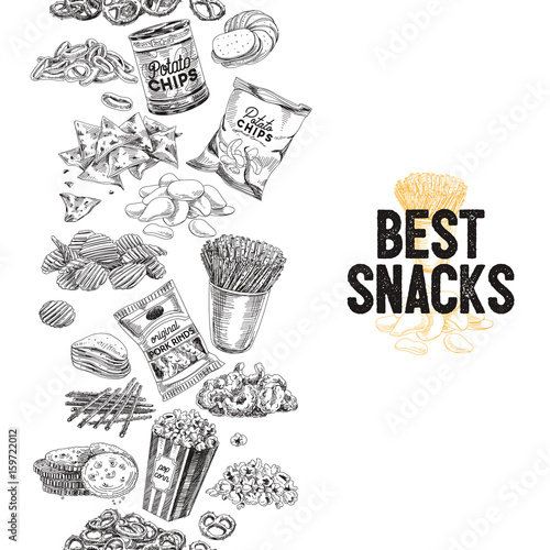 Fotografia Vector hand drawn snack and junk food Illustration.