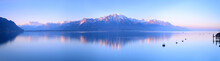 Switzerland Landscape : Lake Geneva Of Montreux At Sunrise