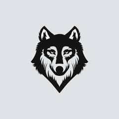 Wolf head black silhouette on solid background. Vector illustration.