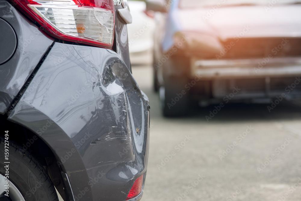 Fotografie, Obraz  Close up car crash accident