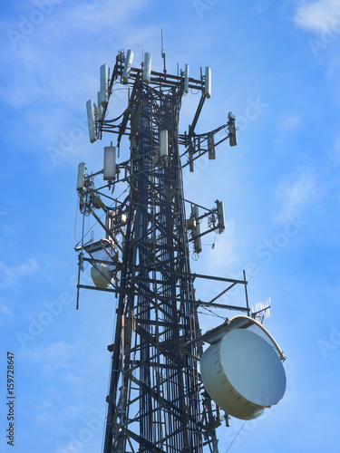 Photo Cell phone communications antenna against a blue sky