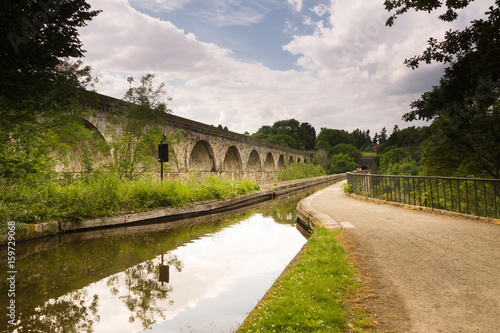 Poster Channel Chirk Aqueduct and Viaduct crossing the Ceiriog Valley in Wales