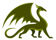 Green Dragon On A White Background