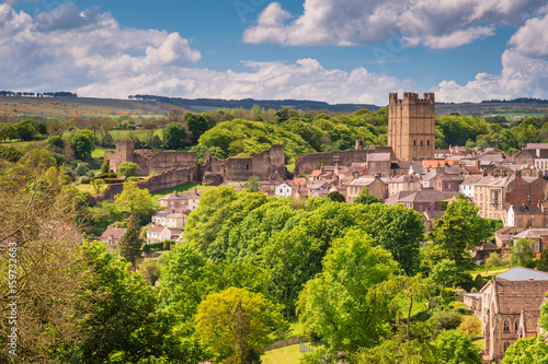 Wall Murals Northern Europe Richmond Castle Skyline / The market town of Richmond is sited at the very edge of the North Yorkshire Dales, on the banks of River Swale