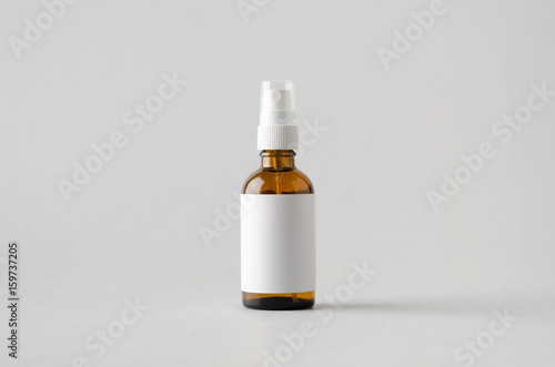 Photo  Amber Spray Bottle Mock-Up - Blank Label