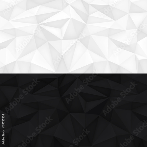 Low Polygon Shapes Black And White Background Light Dark Crystals Triangles Mosaic