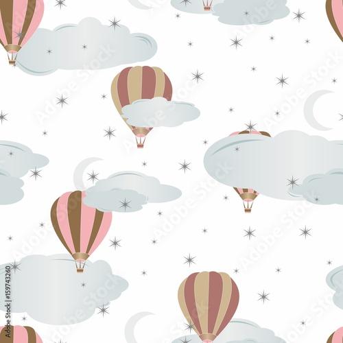 Bezszwowy wzór z lotniczymi balonami. Ilustracji wektorowych.