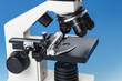 Subject table microscope and interchangeable lenses. Microscope is the main research tool in many scientific laboratories
