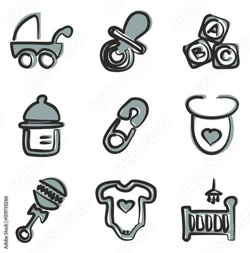 Baby Stuff Icons Freehand 2 Color – kaufen Sie diese ...