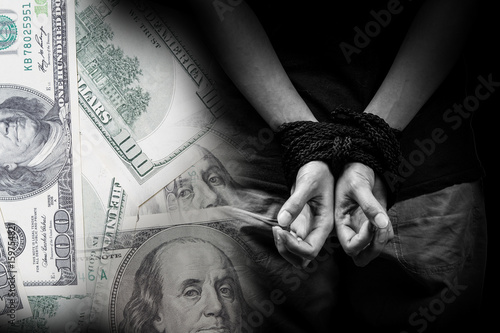 Fotografie, Obraz  Trafficking concept with money background