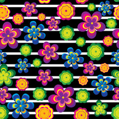 Colorful flowers on black lines seamless pattern. Vector illustration.