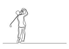 Golf Player - Single Line Draw...
