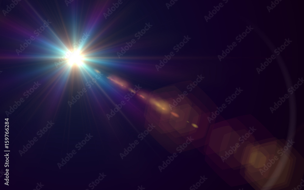 Fototapety, obrazy: Abstract Lens Flare light over background.Abstract of lighting for background.Beautiful rays of light.Easy to add overlay or screen filter over photo
