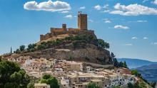Biar Castle At Top Of Hill Over Town, Alicante, Spain