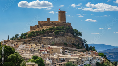 Biar castle at top of hill over town, Alicante, Spain Canvas Print