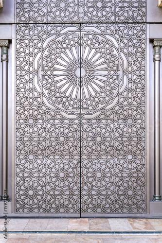 Poster Maroc Grande Mosque Hassan II, architectural detail, in Casablanca.