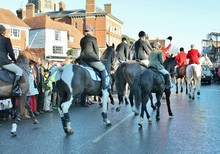 Fox Hunt Start Hounds And Horses With Riders In Red Coats And Jackets At Start Of Hunting Stock, Photo, Photograph, Image, Picture,