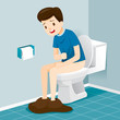 Man Sitting On Toilet, Suffering of Diarrhoea And Abdominal Pain, Stomach, Internal Organs, Body, Physical, Sickness, Anatomy, Health