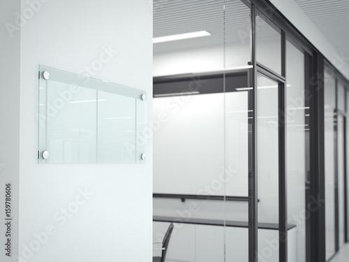 Fotografie, Obraz  Blank transparent glass plate. 3d rendering