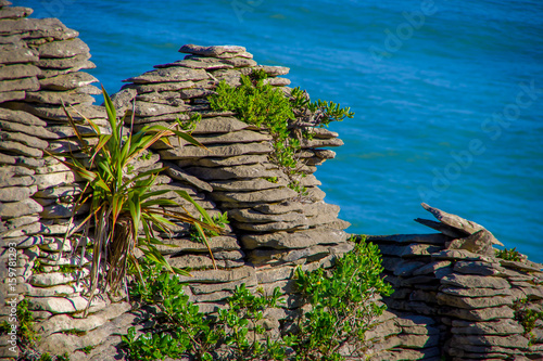 Valokuva  Beautiful view of pancake rocks in Punakaiki, South island, in New Zealand