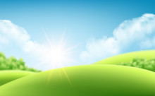 Summer Nature Sunrise Background, A Landscape With Green Hills And Meadows, Blue Sky And Clouds. Vector Illustration