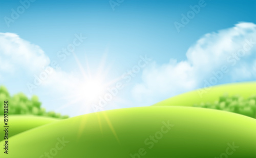In de dag Lime groen Summer nature sunrise background, a landscape with green hills and meadows, blue sky and clouds. Vector illustration
