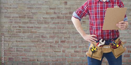 Fotografía professional construction tools and plans